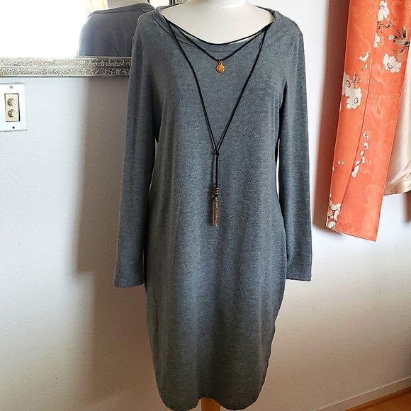 Ultra Flirt Grey Sweater Tunic Dress w Necklace 2X